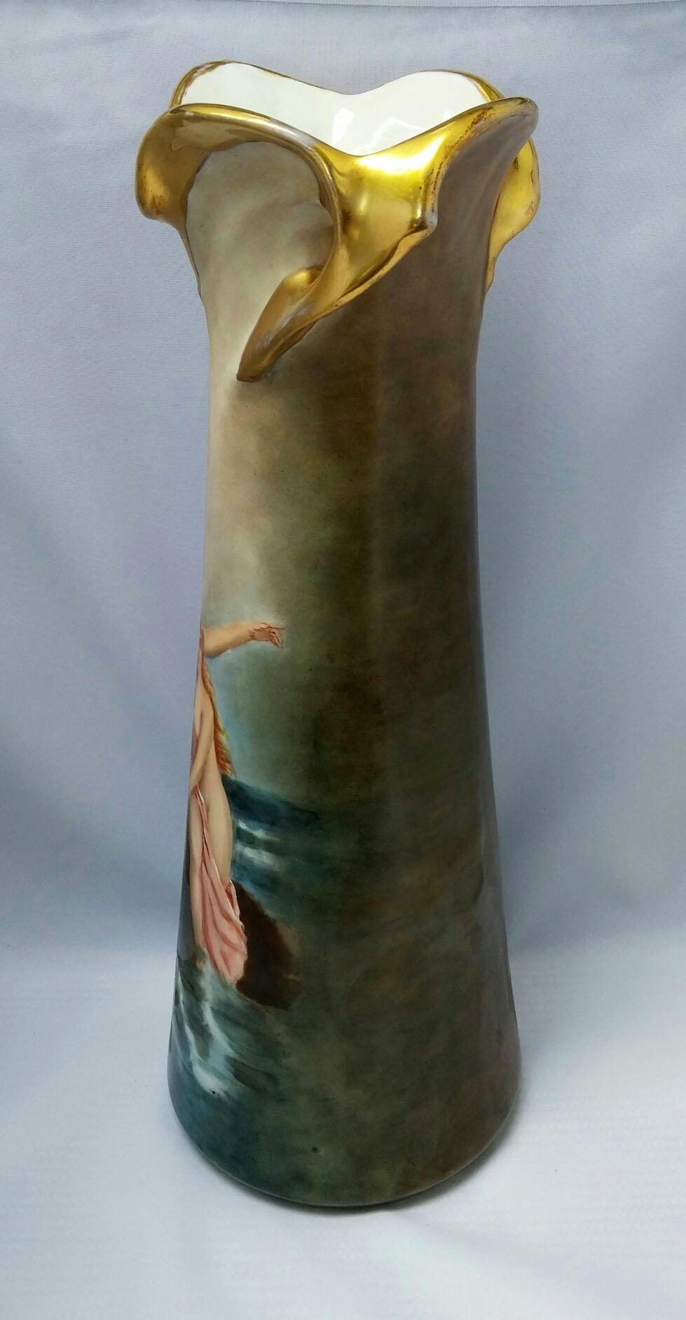 Austrian 14 Hp Twisted Gold Handled Vase With 3 Nude Greek Sirens From -6199
