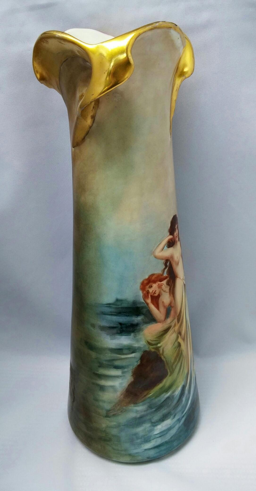 Austrian 14 Hp Twisted Gold Handled Vase With 3 Nude Greek Sirens From -1551