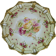 """R.S. Prussia 10 ¾"""" Ribbon and Jewel Mold Bowl with Roses"""