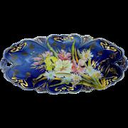 "R.S. Prussia 12 ¼"" Cobalt Blue Pastel Floral Celery"