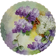 """Limoges H.P. 8 ½"""" Ruffled Edge Cake Plate with Lilacs"""