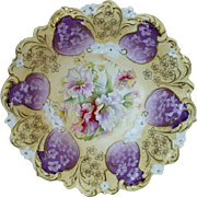 "R.S. Prussia 10 ¼"" Bowl with Wild Roses and Lavender Decor"