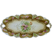 "R.S. Prussia 12 ¼"" Celery with Pink/Yellow Roses and Gold"