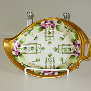"Pickard 7 1/4"" Handled Dish- Violets In Panel décor"