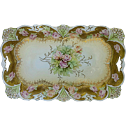 "R.S. Prussia 11 ½"" Dresser Tray with Pink/Yellow Roses and Gold"