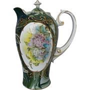 R.S. Prussia Marbleized Chocolate Pot with Lilacs