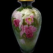 """Belleek H.P. Paul Putzki 14 ½"""" Vase with Cattleya Orchids- """"P. Putzki"""""""