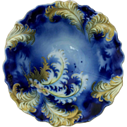 R.S. Prussia Plume Mold Cobalt 3-Footed Bowl