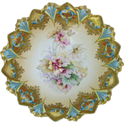 "R.S. Prussia 9 ¾"" Sawtooth Mold Bowl with Encrusted Gold and Roses"