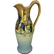 """White's Art Company H.P.  11 ¾"""" Ewer with Grapes and Gold Decor- signed """"J.P."""""""
