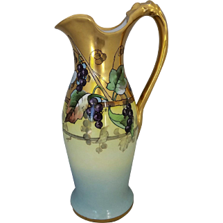 "White's Art Company H.P.  11 ¾"" Ewer with Grapes and Gold Decor- signed ""J.P."""