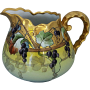 """Hand Painted Grapes and Gold Cider Pitcher- signed """"ASP"""""""
