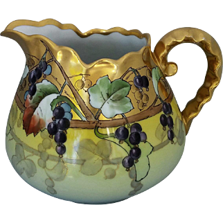 "Hand Painted Grapes and Gold Cider Pitcher- signed ""ASP"""