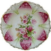 "R.S. Prussia 10 ½"" Bowl- Deep Rose Domes with Roses Decor"