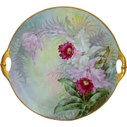"Bavaria H.P. 10 ½"" Cake Plate- Cattleya Orchids with Pastel Background- signed ""L.L. Kibbey"""