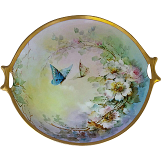 """Russell's Studio H.P. 12"""" Charger with Roses and Butterflies"""
