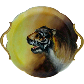 "Limoges 10 ½"" H.P. Tiger Handled Tray- signed ""C. Ludwig"""