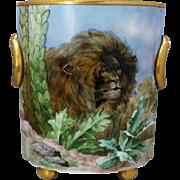 "Bavaria 10 ½"" H.P. Lion in the Jungle Cache Pot- artist signed"