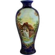 "R.S. Prussia 6 ¼"" Mill Scene Cobalt Vase"