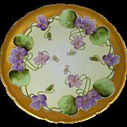 "J.H. Stouffer Company 8 ½"" Violets on Green Leaves Cake Plate by Pickard artist Gustav Weissflog ""Gust."""