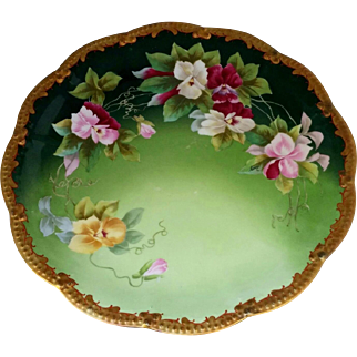 """Limoges H.P. 12 ¼"""" Charger with Baby Orchids by Limoges artist """"Rene"""""""