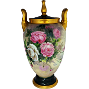 "Hand Painted 13 ½"" Lidded Urn with Pink and White Roses by Pickard artist F. Cirnacty"