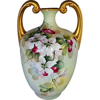 "Limoges H.P. 13 ½"" Muscle Vase with Apple Blossoms by Professional Artist ""Bement"""