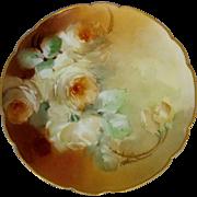 """Haviland France H.P. 8 ¼"""" White Roses Cake Plate by artist Ida Ferris"""