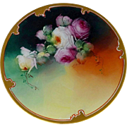 "Pickard H.P. 8 ½"" Red and White Naturalistic Roses Cake Plate by artist Erhardt Seidel"