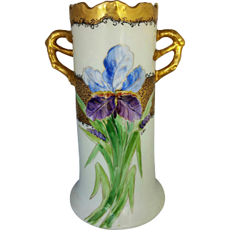 "Hand Painted 10"" Twisted Handle Vase w/Iris by Pickard artist Minnie Luken"