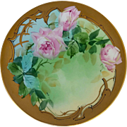 "Pickard H.P. 9"" Pink Naturalistic Roses Cake Plate by Artist Andrew Motzfeldt"