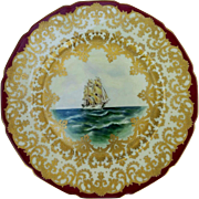 "Rosenthal 10 ½"" Nautical Scene Cake Plate w/Red Trim- artist signed ""Carlson"""