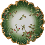"""Limoges 8 ¼"""" Holly and Berry Cake Plate"""