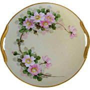 """H.P. Walter Wilson 9 ¾"""" Open Handled Cake Plate with Roses- artist signed """"W. Wilson"""""""
