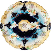 "R.S. Prussia 11"" Cobalt Blue Floral Cake Plate- Buff Rim with Cobalt Center"