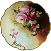 "Edward Donath Studio 11 ¾"" H.P. Charger with Roses by Pickard artist ""M. Roast Leroy"""