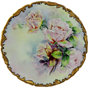 "Limoges H.P. 8 ¼"" Cake Plate with Pink Roses- artist signed ""C.E. Sammel"""