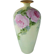 """Limoges H.P. 13"""" Vase with Pink Roses- signed by Socialite Chicago Artist """"C. Miles Surquist"""""""