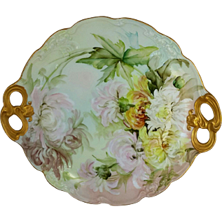"Limoges H.P. 11 ½"" Ester Miler Cake Plate with Chrysanthemums- signed ""E. Miler"""