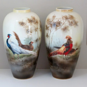 R.S. Poland Vases- Chinese Pheasants & Golden Pheasants- PAIR