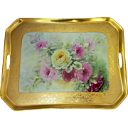 "Osborne Art Studio H.P. 15 ¼"" Dresser Tray- Gold with Pink, Red and Yellow Roses- signed ""Osborne"""
