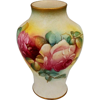 "Royal Worcester H.P. 4"" Vase with Red and Pink Roses- by Millie Hunt ""M. Hunt"""