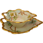 "Pickard H.P. ""Cherokee Rose"" Leaf Mayonnaise Set by artist Zuie McCorkle"