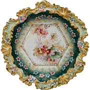 """R.S. Prussia 10 ¾"""" Bowl with Teal & Pink Floral Decor"""
