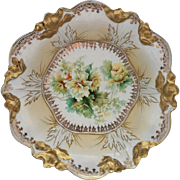 """R.S. Prussia 10 ½"""" Bowl- Gold with Yellow Rose Floral Decor"""