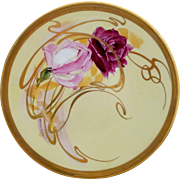 "Pickard H.P. 9"" Roses Overpainted With Gold Whiplashes Plate by artist Andrew Motzfeldt"