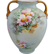 "Hand Painted 6 ¼"" Vase with Pink Wild Roses- artist signed ""E. GORMAN"""