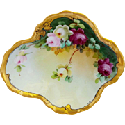 Pickard H.P. Curved Edge Dish with Roses and Gold Border by artist Frederick Walters