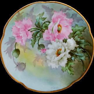 """Paul Putzki H.P. 8 ½"""" Pink and White Peony Cake Plate - """"P. Putzki"""""""