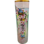 """Ida Sommer H.P. 11"""" Cylindrical Vase with Bluebirds and Pink Dogwood Decor"""